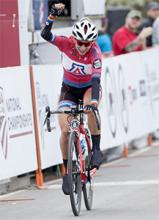 UA chemical and environmental engineering graduate Erica Clevenger wins the Women's Division Club Road Race at the 2017 USA Cycling Collegiate and Para-Cycling Road National Championships. (Photo by Casey B. Gibson)