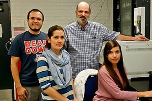 Jim Field (at back) in his lab with visiting researchers Ivan Moreno-Andrade and Adriana Ramos Ruiz from Mexico and Camila Leite Madeira from Brazil