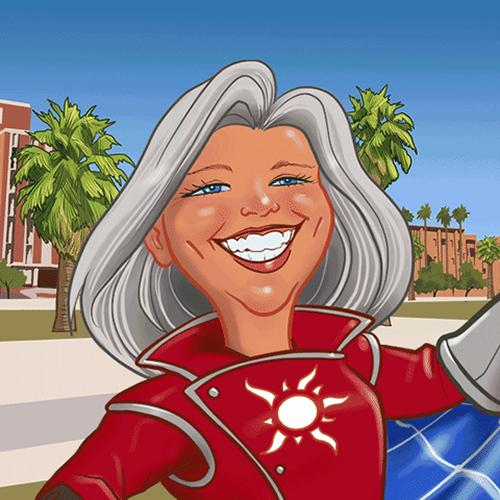 A comic-book-style rendition of Kim Ogden in a superhero costume displaying a sun icon on the chest.
