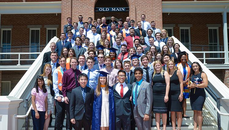 The CHEE graduating class of spring 2018, posed on the steps of Old Main