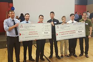 Chemical engineering seniors holding their big checks from Engineering Design Day 2016