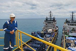Amanda Rubio at work – at sea!