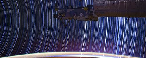 Startrail photo taken from the International Space Station; credit Don Pettit/NASA